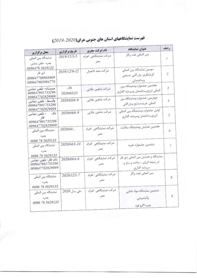 نمایشگاه های عراق